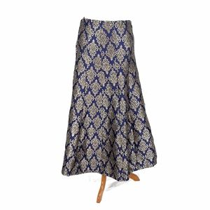 Gold and Blue Damask Paneled Maxi Skirt